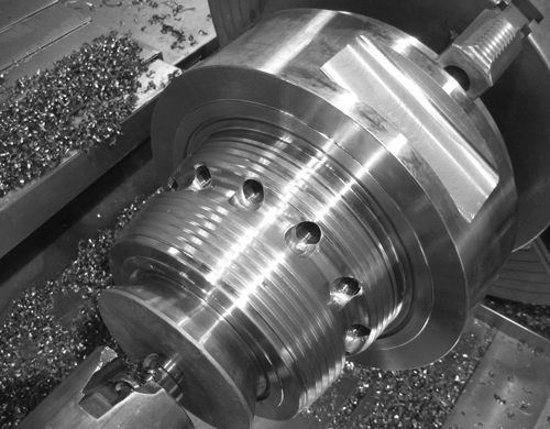 Threaded RC Drill Pipe being machined